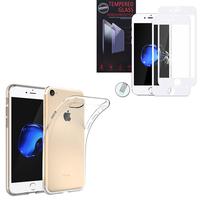 """Apple iPhone 7 4.7"""" (non compatible iPhone 7 Plus 5.5''): Etui Housse Pochette Accessoires Coque gel UltraSlim - TRANSPARENT + 1 Film de protection d'écran Verre Trempé"""