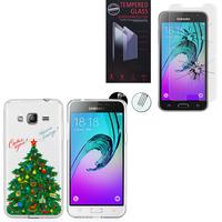 Samsung Galaxy J3 (2016) J320F/ Galaxy Amp Prime/ J320P/ J3109/ J320M: Coque Housse silicone TPU Transparente Ultra-Fine Dessin animé jolie - Xmas Arbre + 1 Film de protection d'écran Verre Trempé