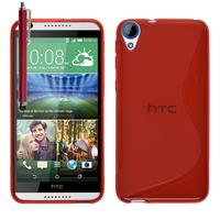 HTC Desire 820/ 820 Dual/ 820s Dual/ 820q Dual: Accessoire Housse Etui Pochette Coque S silicone gel + Stylet - ROUGE
