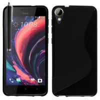 """HTC Desire 10 Lifestyle 5.5"""" (non compatible HTC 10/ HTC 10 Lifestyle): Accessoire Housse Etui Pochette Coque Silicone Gel motif S Line + Stylet - NOIR"""