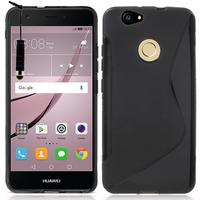 """Huawei Nova 5.0"""" (non compatible Nova Plus 5.5""""): Accessoire Housse Etui Pochette Coque Silicone Gel motif S Line + mini Stylet - NOIR"""