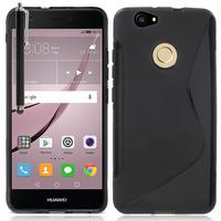 """Huawei Nova 5.0"""" (non compatible Nova Plus 5.5""""): Accessoire Housse Etui Pochette Coque Silicone Gel motif S Line + Stylet - NOIR"""
