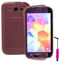 Samsung Galaxy Grand Plus/ Grand Neo/ Grand Lite I9060 I9062 I9060I i9080: Accessoire Coque Etui Housse Pochette silicone gel Portefeuille Livre rabat + mini Stylet - ROSE