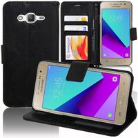 Samsung Galaxy Grand Prime Plus/ Grand Prime (2016)/ Galaxy J2 Prime/ SM-G532F G532M G532G : Accessoire Etui portefeuille Livre Housse Coque Pochette support vidéo cuir PU - NOIR