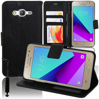 Samsung Galaxy Grand Prime Plus/ Grand Prime (2016)/ Galaxy J2 Prime/ SM-G532F G532M G532G : Accessoire Etui portefeuille Livre Housse Coque Pochette support vidéo cuir PU + mini Stylet - NOIR