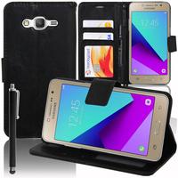 Samsung Galaxy Grand Prime Plus/ Grand Prime (2016)/ Galaxy J2 Prime/ SM-G532F G532M G532G : Accessoire Etui portefeuille Livre Housse Coque Pochette support vidéo cuir PU + Stylet - NOIR