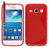Samsung Galaxy Core Plus G3500/ Trend 3 G3502: Accessoire Housse Etui Pochette Coque S silicone gel + Stylet - ROUGE