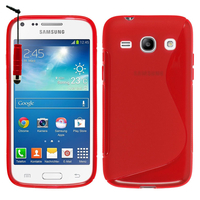 Samsung Galaxy Core Plus G3500/ Trend 3 G3502: Accessoire Housse Etui Pochette Coque S silicone gel + mini Stylet - ROUGE