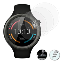 "Motorola Moto 360 Sport (1st gen) 1.37"" (non compatible Moto 360 46mm (2nd gen)/ Moto 360 (1st gen) 1.56""): Lot / Pack de 3 Films de protection d'écran Verre Trempé"