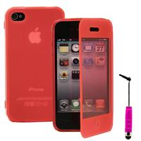 Apple iPhone 4/ 4S/ 4G: Accessoire Coque Etui Housse Pochette silicone gel Portefeuille Livre rabat + mini Stylet - ROSE
