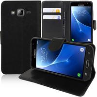 Samsung Galaxy Express Prime 4G LTE J320A/ Galaxy Sol 4G: Accessoire Etui portefeuille Livre Housse Coque Pochette support vidéo cuir PU - NOIR