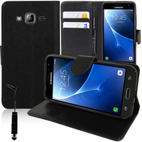 Samsung Galaxy Express Prime 4G LTE J320A/ Galaxy Sol 4G: Accessoire Etui portefeuille Livre Housse Coque Pochette support vidéo cuir PU + mini Stylet - NOIR