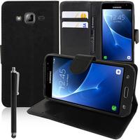 Samsung Galaxy Express Prime 4G LTE J320A/ Galaxy Sol 4G: Accessoire Etui portefeuille Livre Housse Coque Pochette support vidéo cuir PU + Stylet - NOIR