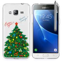 Samsung Galaxy Express Prime 4G LTE J320A/ Galaxy Sol 4G: Coque Housse silicone TPU Transparente Ultra-Fine Dessin animé jolie + Stylet - Xmas Arbre