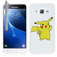 Samsung Galaxy Express Prime 4G LTE J320A/ Galaxy Sol 4G: Coque Housse silicone TPU Transparente Ultra-Fine Dessin animé jolie + Stylet - Pikachu