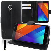 """Meizu MX5E/ Meizu MX5e Lite 5.5"""": Accessoire Etui portefeuille Livre Housse Coque Pochette support vidéo cuir PU + mini Stylet - NOIR"""