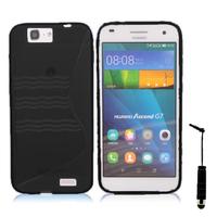 Huawei Ascend G7/ G7-L01/ G7-L03: Accessoire Housse Etui Pochette Coque S silicone gel + mini Stylet - NOIR