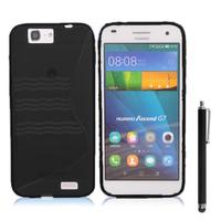 Huawei Ascend G7/ G7-L01/ G7-L03: Accessoire Housse Etui Pochette Coque S silicone gel + Stylet - NOIR