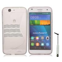 Huawei Ascend G7/ G7-L01/ G7-L03: Accessoire Housse Etui Pochette Coque S silicone gel + mini Stylet - TRANSPARENT