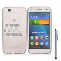 Huawei Ascend G7/ G7-L01/ G7-L03: Accessoire Housse Etui Pochette Coque S silicone gel + Stylet - TRANSPARENT