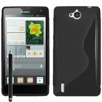 Huawei Ascend G740/ Orange Yumo: Accessoire Housse Etui Pochette Coque S silicone gel + Stylet - NOIR