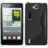 Huawei Ascend G740/ Orange Yumo: Accessoire Housse Etui Pochette Coque S silicone gel + mini Stylet - NOIR