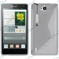 Huawei Ascend G740/ Orange Yumo: Accessoire Housse Etui Pochette Coque S silicone gel + mini Stylet - TRANSPARENT