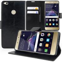 """Huawei P8 Lite (2017) 5.2""""/ P9 Lite (2017)/ Honor 8 Lite/ Nova Lite/ GR3 (2017) (non compatible Version 2015/ 2016): Accessoire Etui portefeuille Livre Housse Coque Pochette support vidéo cuir PU - NOIR"""