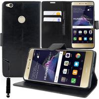 """Huawei P8 Lite (2017) 5.2""""/ P9 Lite (2017)/ Honor 8 Lite/ Nova Lite/ GR3 (2017) (non compatible Version 2015/ 2016): Accessoire Etui portefeuille Livre Housse Coque Pochette support vidéo cuir PU + mini Stylet - NOIR"""