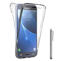 Samsung Galaxy Express Prime 4G LTE J320A/ Galaxy Sol 4G: Coque Housse Silicone Gel TRANSPARENTE ultra mince 360° protection intégrale Avant et Arrière + Stylet - TRANSPARENT