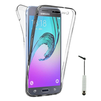Samsung Galaxy J3 (2016) J320F/ Galaxy Amp Prime/ J320P/ J3109/ J320M/ J320Y/ Duos: Coque Housse Silicone Gel TRANSPARENTE ultra mince 360° protection intégrale Avant et Arrière + mini Stylet - TRANSPARENT