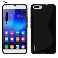 Huawei Honor 6 Plus (non compatible Honor 6X/ Honor 6): Accessoire Housse Etui Pochette Coque S silicone gel + mini Stylet - NOIR