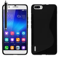 Huawei Honor 6 Plus (non compatible Honor 6X/ Honor 6): Accessoire Housse Etui Pochette Coque S silicone gel + Stylet - NOIR