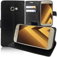 """Samsung Galaxy A5 (2017) 5.2"""" A520F/ A5 (2017) Duos (non compatible Version 2014/ 2015/ 2016): Accessoire Etui portefeuille Livre Housse Coque Pochette support vidéo cuir PU - NOIR"""
