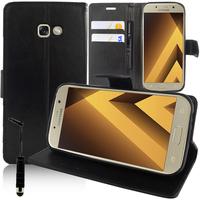 """Samsung Galaxy A5 (2017) 5.2"""" A520F/ A5 (2017) Duos (non compatible Version 2014/ 2015/ 2016): Accessoire Etui portefeuille Livre Housse Coque Pochette support vidéo cuir PU + mini Stylet - NOIR"""