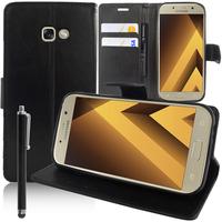 """Samsung Galaxy A5 (2017) 5.2"""" A520F/ A5 (2017) Duos (non compatible Version 2014/ 2015/ 2016): Accessoire Etui portefeuille Livre Housse Coque Pochette support vidéo cuir PU + Stylet - NOIR"""