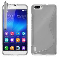 Huawei Honor 6 Plus (non compatible Honor 6X/ Honor 6): Accessoire Housse Etui Pochette Coque S silicone gel + Stylet - TRANSPARENT