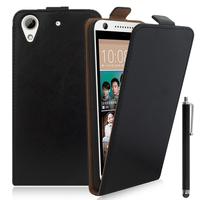 HTC Desire 626/ 626s/ 626G/ 626G+/ 626 (USA): Accessoire Housse Coque Pochette Etui protection vrai cuir à rabat vertical + Stylet - NOIR