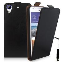 HTC Desire 628/ 628 dual sim: Accessoire Housse Coque Pochette Etui protection vrai cuir à rabat vertical + mini Stylet - NOIR