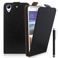 HTC Desire 628/ 628 dual sim: Accessoire Housse Coque Pochette Etui protection vrai cuir à rabat vertical + Stylet - NOIR