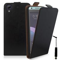 HTC Desire 650: Accessoire Housse Coque Pochette Etui protection vrai cuir à rabat vertical + mini Stylet - NOIR