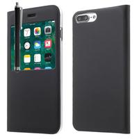 "Apple iPhone 7 Plus 5.5"" (non compatible iPhone 7 4.7''): Etui View Case Flip Folio Leather cover + Stylet - NOIR"