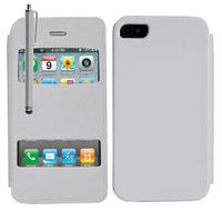 Apple iPhone 4/ 4S/ 4G: Accessoire Coque Etui Housse Pochette Plastique View Case + Stylet - BLANC