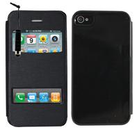 Apple iPhone 4/ 4S/ 4G: Accessoire Coque Etui Housse Pochette Plastique View Case + mini Stylet - NOIR