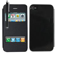 Apple iPhone 4/ 4S/ 4G: Accessoire Coque Etui Housse Pochette Plastique View Case + Stylet - NOIR