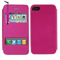 Apple iPhone 4/ 4S/ 4G: Accessoire Coque Etui Housse Pochette Plastique View Case + mini Stylet - ROSE