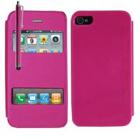Apple iPhone 4/ 4S/ 4G: Accessoire Coque Etui Housse Pochette Plastique View Case + Stylet - ROSE