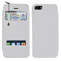 Apple iPhone 5/ 5S/ SE: Accessoire Coque Etui Housse Pochette Plastique View Case + mini Stylet - BLANC