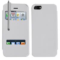 Apple iPhone 5/ 5S/ SE: Accessoire Coque Etui Housse Pochette Plastique View Case + Stylet - BLANC