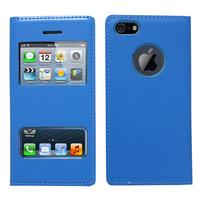 Apple iPhone 5/ 5S/ SE: Accessoire Coque Etui Housse Pochette Plastique View Case - BLEU